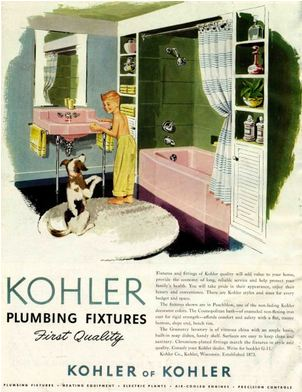 pink bathoom vintage kohler